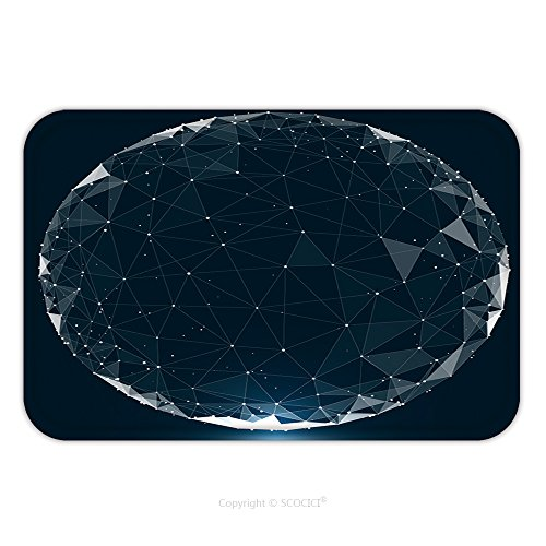 Flannel Microfiber Non Slip Rubber Backing Soft Absorbent Doormat Mat Rug Carpet Point Line Surface Composed Of Circular Graphics Global Network Connection International Meaning 513685612 For Indoor O