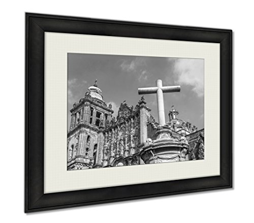 Ashley Framed Prints Metropolitan Cathedral Of The Assumption Of Mary Of Mexico City, Wall Art Home Decoration, Black/White, 30x35 (frame size), AG5937340 by Ashley Framed Prints