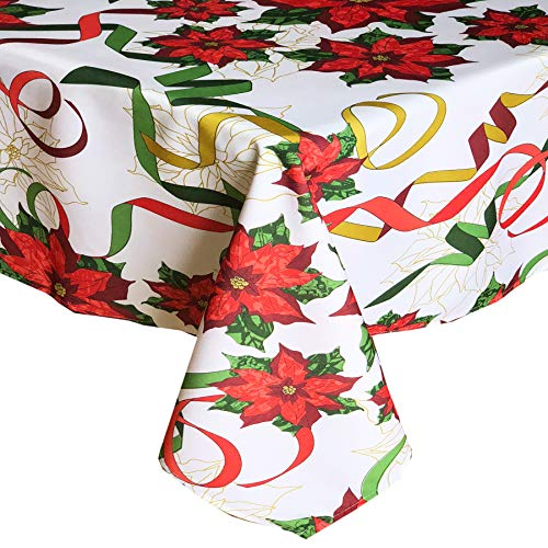 (Lintex Poinsettia Christmas Ribbons Print Christmas Fabric Tablecloth, Xmas Festive Ribbons Holiday Print Polyester Tablecloth, 60 Inch x 84 Inch Oblong/Rectangle)
