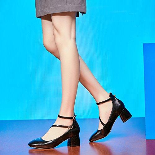 Hoxekle Femmes Sexy Haute Épaisseur Talons En Cuir Chaussures Printemps Mode Nouvel Élément Chaussures Rose