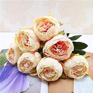 1 Bouquet Vintage Artificial Peony Silk Flowers Bouquet for Decoration 23