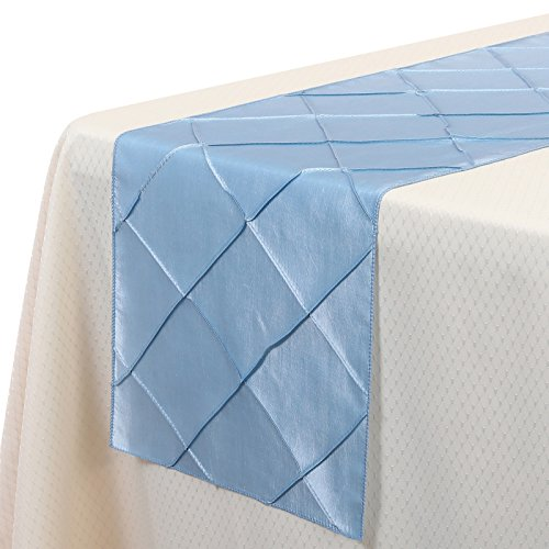VEEYOO 12x108 Inch Pintuck Taffeta Table Runner Cloth Cover Wedding Decoration Baby (Light Blue Table Runner)
