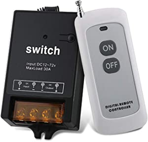 Outdoor Indoor Wireless Remote Control Switch with 1640FT Remote Range, DC 12V/24V/48V/72V Max Load 30A Switch for Anti-Theft Alarms, Security Systems, Roller Lind Door