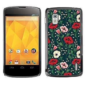 Design for Girls Plastic Cover Case FOR LG Nexus 4 E960 Floral Flowers Green OBBA