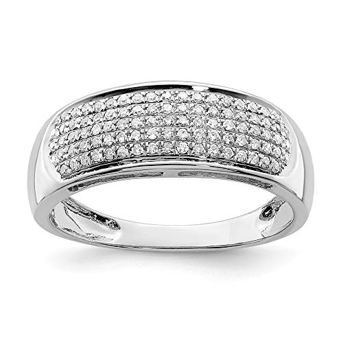 - 925 Sterling Silver (0.23cttw) Five Row Diamond Band Ring Size-6