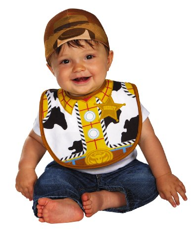 Disguise Baby's Disney Pixar Toy Story and Beyond Woody Infant Bib and Hat, White/Black/Brown/Yellow, 0-6 Months