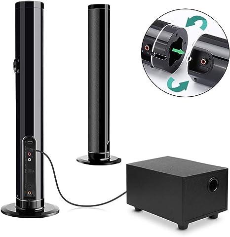 Barra de Sonido, Fityou Altavoz Inalámbrico Bluetooth para TV con Subwoofer Barra de Sonido Inalámbrica Portátil Soporte USB, Control Remoto, Desmontable y Montable en Pared para PC, TV, Teléfono: Amazon.es: Electrónica
