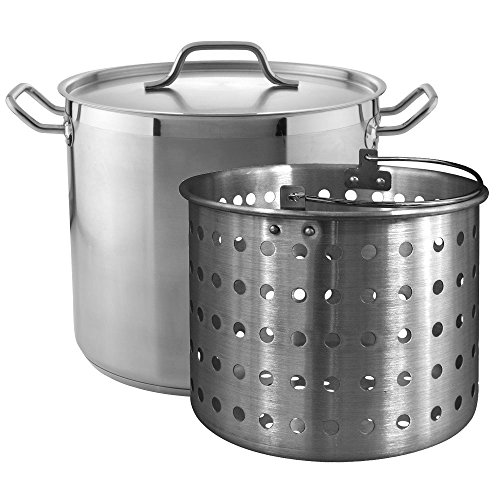 Tiger Chef 20 Quart Heavy-Duty Stainless Steel Stock Pot With Cover And Aluminum Steamer Basket ()