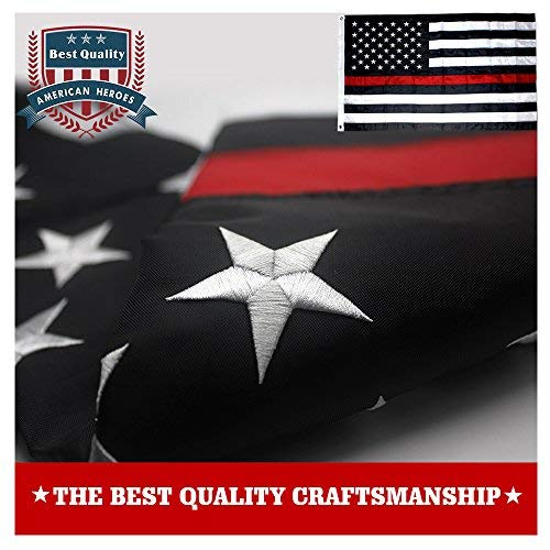 VSVO Thin Red Line American Firefighter Flag 3x5 ft with Embroidered Stars and Sewn Stripes with Grommets Black Red and White US Flag