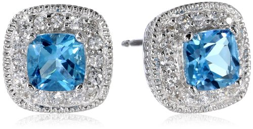Sterling Silver Genuine Swiss Blue Topaz and Created White Sapphire Cushion Stud (Blue Topaz Cushion Earrings)