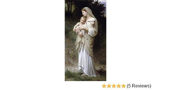 L/'Innocence Painting Christ Lamb Woman Child Canvas Art Print