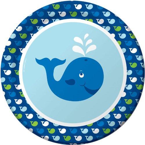 8-Count Round Paper Dinner Plates, Ocean Preppy -