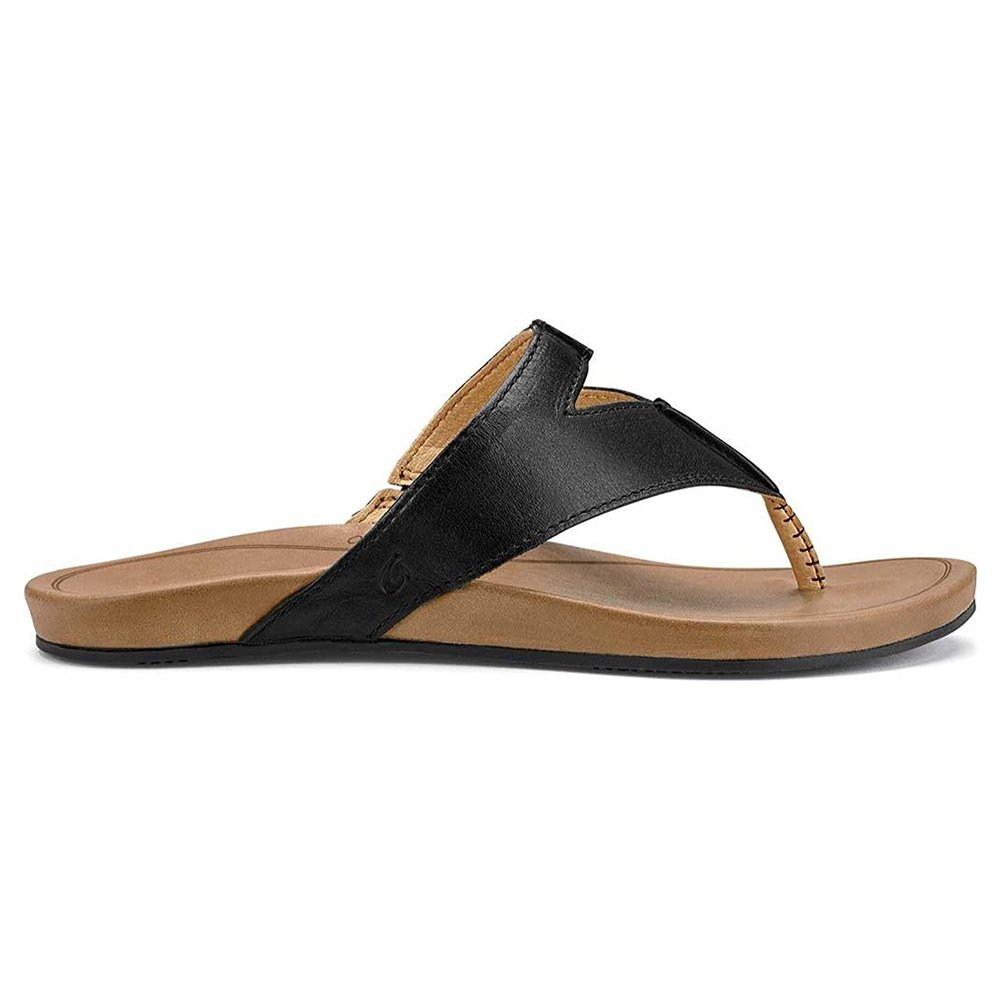 Olukai Lala - Womens Leather Comfort Sandal Black / Tan - 9 by OluKai