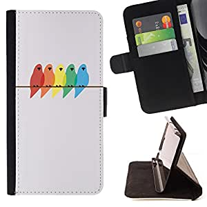 BullDog Case - FOR/Samsung Galaxy Core Prime / - / birds colors painting birch minimalist /- Monedero de cuero de la PU Llevar cubierta de la caja con el ID Credit Card Slots Flip funda de cuer