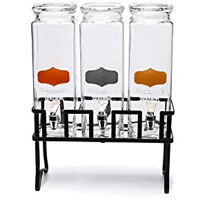 Circleware Triple XL Tall Yorkshire Beverage Drink Chalkboard Dispensers with Glass Lids and Black Metal Stand, 2.5 Quarts each, Copper, Gold and Silver Chalkboard Panels
