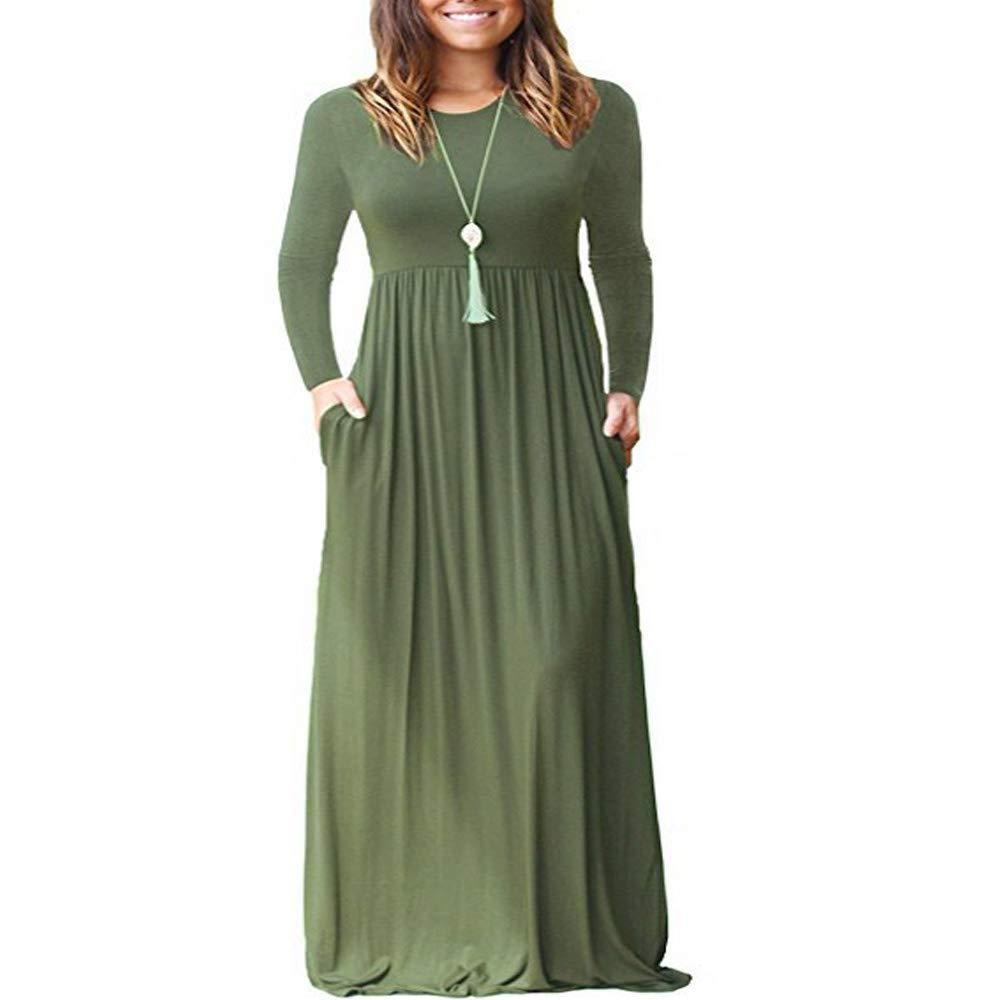 TALLA L. ZHANGNA Mujer Sexy Manga Larga Casual Maxi Vestido con Bolsillo Ejercito Verde