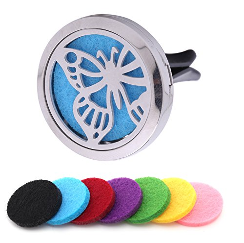 Scentfusey Best Essential Oil Car Diffuser. Add Your Own Essential Oils to Locket Vent Clip for Aromatherapy In Car|Home Fan. Air Freshener With 7 Felt Pads, Gift Box & eBook