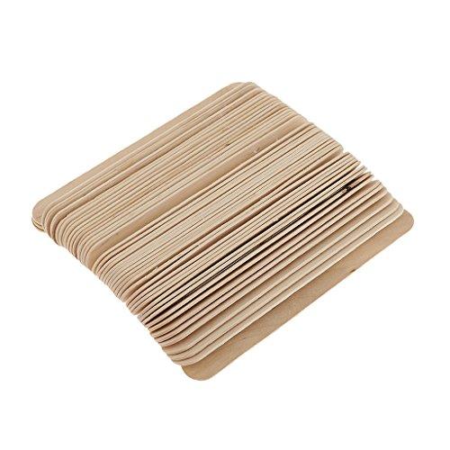 Prettyia Lot of 50pcs Natural Wood Disposable Hair Remover Waxing Applicator Sticks Wax Spatulas Set