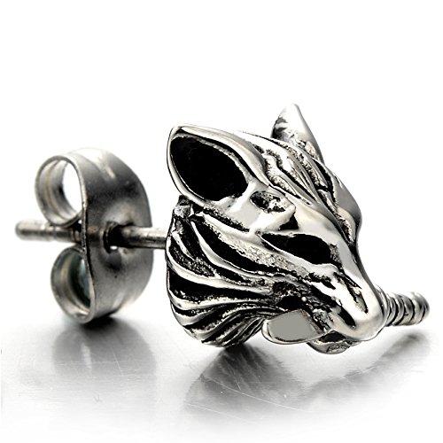 Rock Punk Mens Wolf Head Sword Stud Earrings in Stainless Steel, 2 Pcs by COOLSTEELANDBEYOND (Image #3)