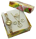 Gold Anchor Watch Jewelry Gift Set - Crystal Quartz Watch, Necklace, Earrings and Ring - Great Gift Idea