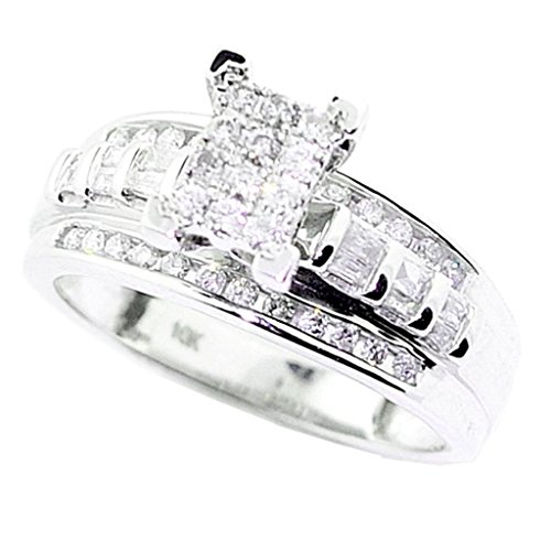 10K White Gold Wedding Ring 3 in 1 Style 1/2cttw Diamond by Midwest Jewellery