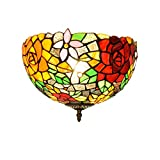 VinDeng Gorgeous Rose Decor Ceiling Light Flush Mount - E26 2-Lights Ceiling Lamp with Glass Tiffany Style Light Fixture for Hallway Aisle-Colorful