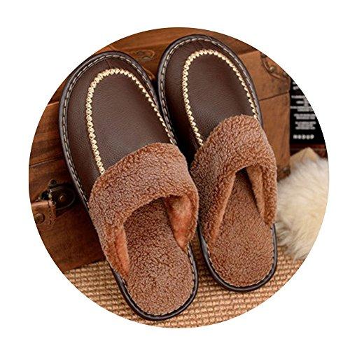 TELLW Winter Kuh Lint Pantoffeln M?nner und Frauen nach Hause rutschfeste warme Indoor Holzfu?boden Leder Hausschuhe M?nner dunkelbraun