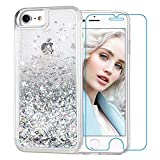 Maxdara iPhone 8 Case, iPhone 7 Glitter Liquid Women Case Tempered Glass Screen Protector Floating Bling Sparkle Luxury Pretty Protective Girls Case for iPhone 6 6s 7 8 4.7 inches (Silver)