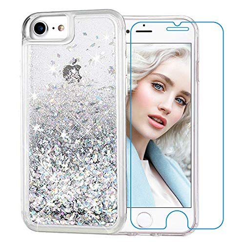 (Maxdara iPhone 8 Case, iPhone 7 Glitter Liquid Women Case Tempered Glass Screen Protector Floating Bling Sparkle Luxury Pretty Protective Girls Case for iPhone 6 6s 7 8 4.7 inches (Silver))