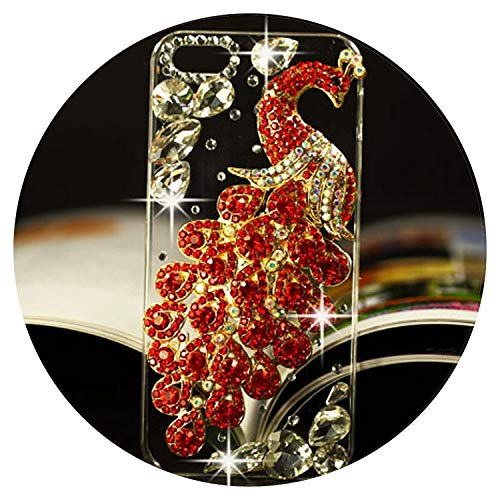 (Hot Luxury 3D Peacock Bird Bling Crystal Rhinestone Diamond Mobile Phone case Hard Skin Back Cover for iphone6 6plus 7 7plus,red,for iPhone 5 5S)