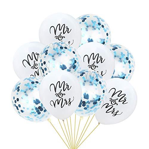 10 Pcs Mr&Mrs Confetti Balloons, Kicpot 12 Inch Balloon 5pcs White 10inch Latex Mr&Mrs Balloons + 5pcs 12 inch Blue Confetti Balloons for Wedding Party Supplies]()