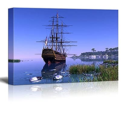 Marvelous Object of Art, Quality Artwork, Beautiful Scenery of Sailboat in The Lagoon at Sunset Wall Decor