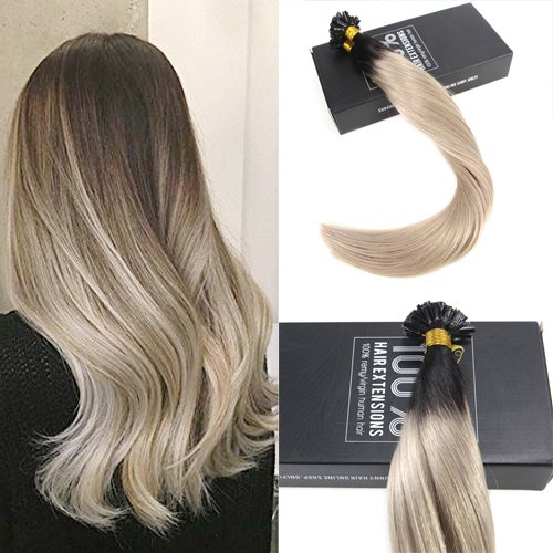 Sunny 18inch U Tip Fusion Hair Extensions Remy Human Hair Natural Black Ombre Dirty Blonde Keratin Fusion Nail Hair Extensions 1G/1S 50G