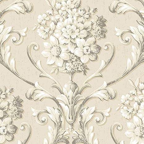 Norwall Cs35624 Floral Damask Prepasted Wallpaper Multi