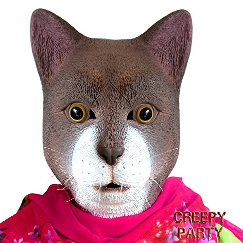 CreepyParty Deluxe Novelty Halloween Costume Party Latex Animal Brown Cat Head Mask (Cat Halloween Meme)