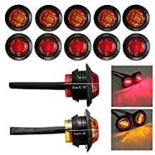 8 Pcs Red & 8 Pcs Amber Mount Clear Lens LED Bullet Light Lamp Truck Trailer Round Side Clearance Marker Light Car Truck Tail Trailer Lamp 12v(Total of 16 Pcs)