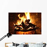 Wallmonkeys Fireplace and Amber Wall Mural Peel and Stick Graphic (48 in W x 32 in H) WM118832 For Sale
