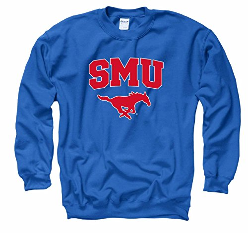Campus Colors SMU Mustangs Arch & Logo Gameday Crewneck Sweatshirt - Royal, Medium
