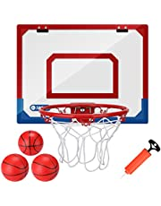 Kavalan Indoor Mini Basketball Dunking Hoop Set with 3 Balls, Durable Adjustable Basketball Hoop Set for Door Wall Yard Office Bedroom Sports Toys for Kids or Teens with Extra Bump Included