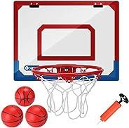 Kavalan Indoor Mini Basketball Dunking Hoop Set with 3 Balls, Durable Adjustable Basketball Hoop Set for Door