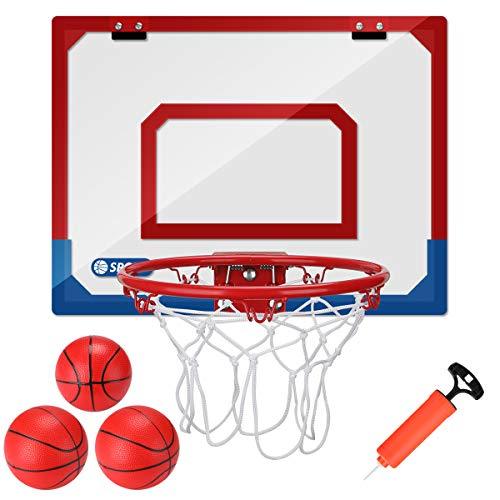 Mini Basketball Hoop Set for Door & Wall, 16 X 12 in Basketball Board Games for Home and Office , Durable Adjustable Indoor Mini Basketball Hoop with 3 Balls, Basketball Toys Gifts for Kids Boys Teens