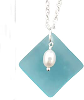 """product image for Handmade in Hawaii, Natural Rice pearls with Curved Turquoise Bay Blue sea glass Necklace,""""December Birthstone"""", (Hawaii Gift Wrapped, Customizable Gift Message)"""