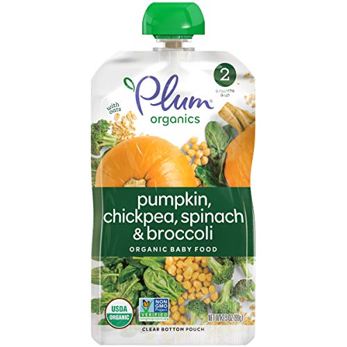 Plum Organics Stage 2 Hearty Veggie, Organic Baby Food, Pumpkin, Spinach, Chickpea and Broccoli, 3.5 ounce pouches (Pack of 12) (Packaging May Vary) (Best Tasting Baby Food Meat)