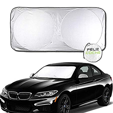Felizcoche Foldable Car Windshield Sun Shade Size 67' x 35-1/2' Inside Use UV Reflector Inner Protection -Make a Cool Driving