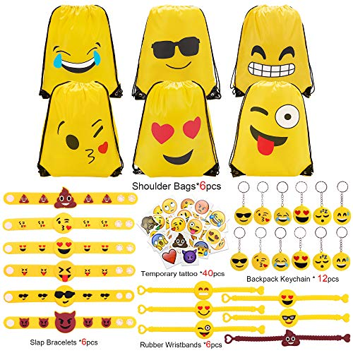 Konsait Emoji Party Supplies(70pack), Emoji Drawstring Backpacks| Keychain| Rubber Wristbands| Slap Bracelets| Temporary Tattoos Faces Jumbo Bulk Pack for Kids Birthday Party Favors for $<!--$16.99-->