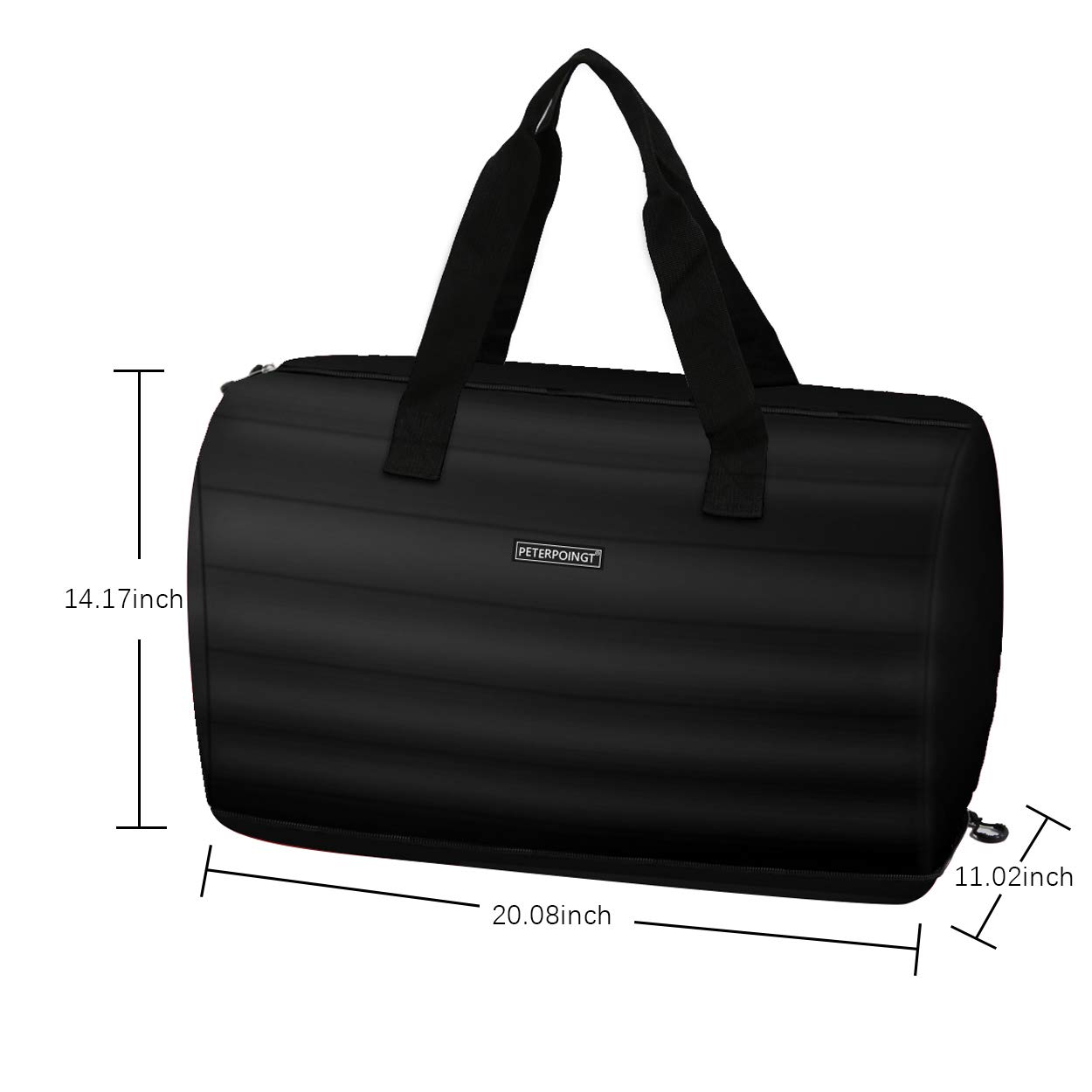 PETERPOINT Bag Travel Bag Handle Travel Pillow Sport Gym Portable Men Women for Foldable Duffle Lightweight Luggage Large 5 Color Black