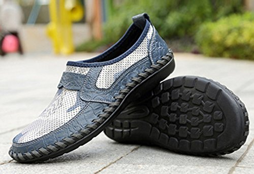 Loafers Bout Bleu Homme Rond Enfiler Léger Mocassins à Fermeture Coloré Easemax nUxBawqWW