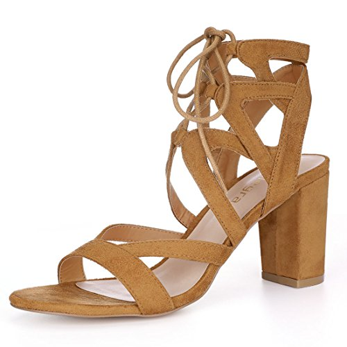 Allegra K Women's Cutout Strappy Chunky Heel Lace-up Sandals (Size US 9) Brown (Abs Womens Sandals)