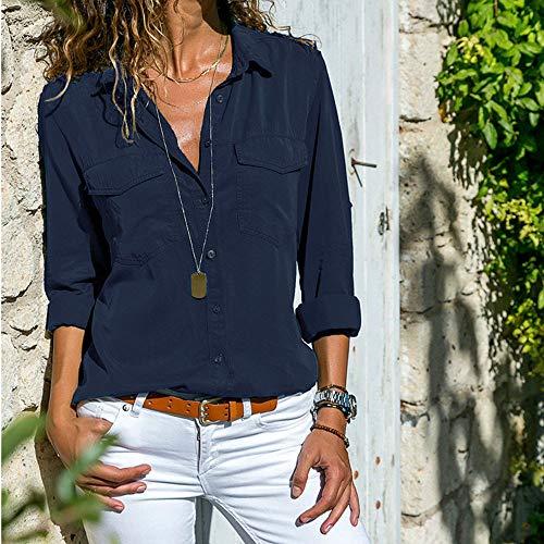 41f7c1026 Camisas Mujer Casual, ❤ Amlaiworld Camiseta de Cuello Alto de Solapa Casual  para Mujer Camisetas de Manga Larga de Blusa de Hebilla para niña Camisas De  ...
