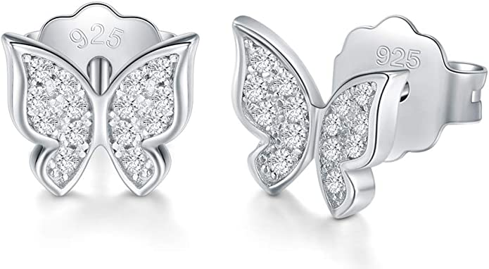 925 Sterling Silver Stud Earrings Boruo Cubic Zirconia Butterfly Earrings Clothing Amazon Com